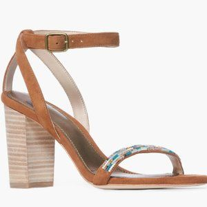 Paige NEW brown suede block heel ankle strap Beads